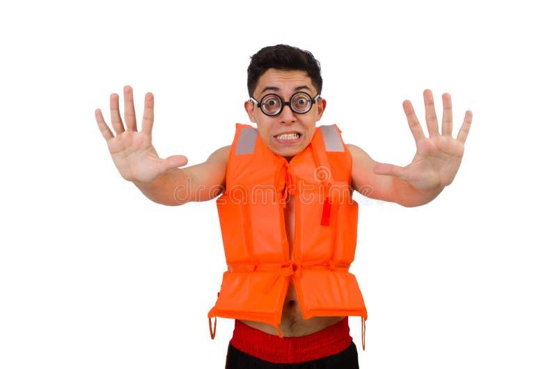 The funny man wearing orange safety vest. Funny man wearing orange safety vest stock image