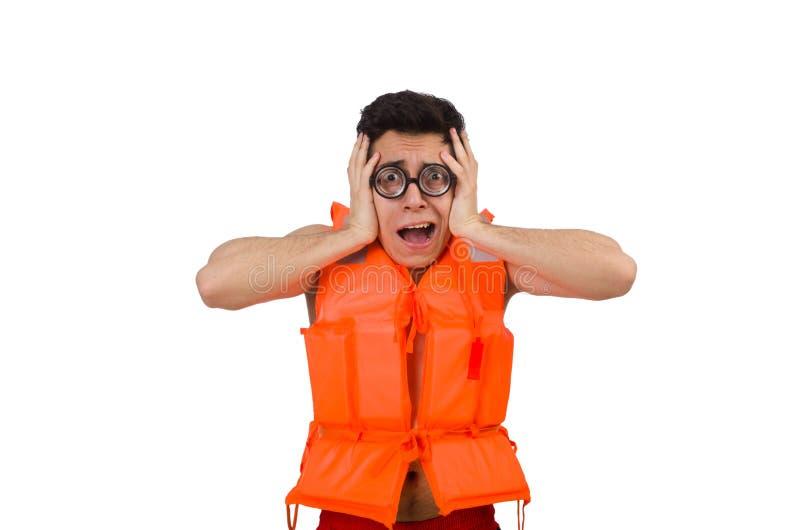 The funny man wearing orange safety vest. Funny man wearing orange safety vest stock photo