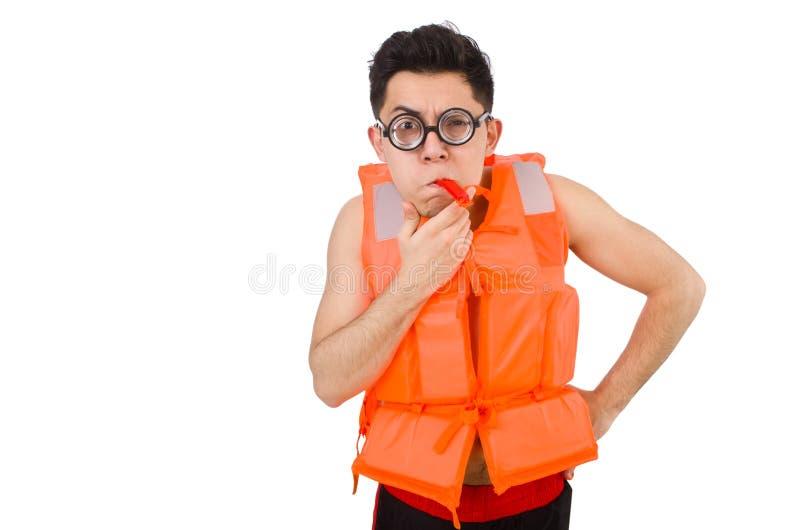 The funny man wearing orange safety vest. Funny man wearing orange safety vest stock images