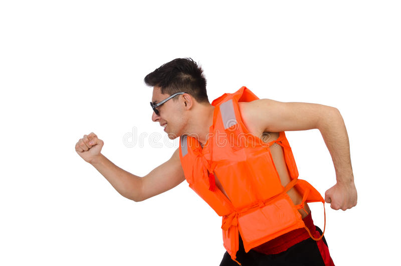 The funny man wearing orange safety vest. Funny man wearing orange safety vest royalty free stock images