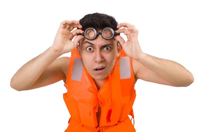 Funny man wearing orange safety vest. The funny man wearing orange safety vest royalty free stock images