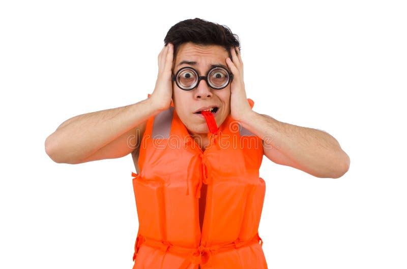 Funny man wearing orange safety vest. The funny man wearing orange safety vest stock images