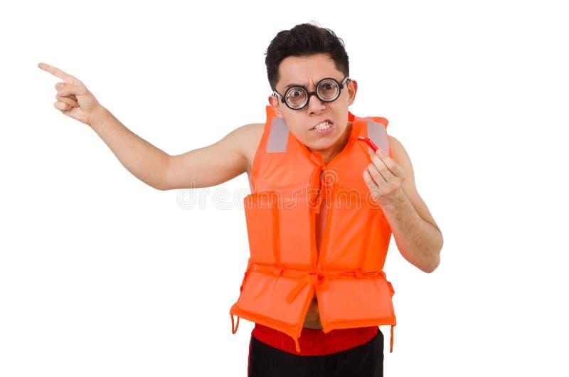 Funny man wearing orange safety vest. The funny man wearing orange safety vest royalty free stock image