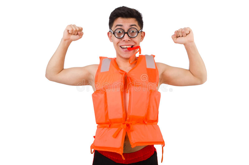 Funny man wearing orange safety vest. The funny man wearing orange safety vest royalty free stock photo