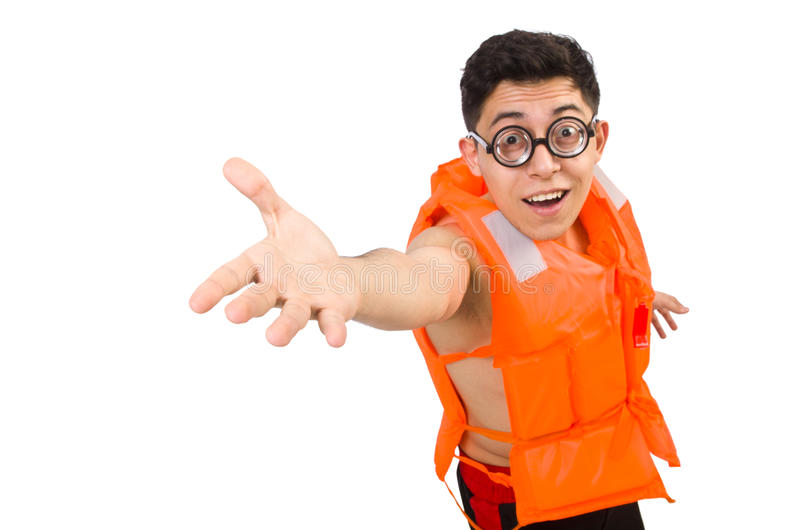 Funny man wearing orange safety vest. The funny man wearing orange safety vest stock image