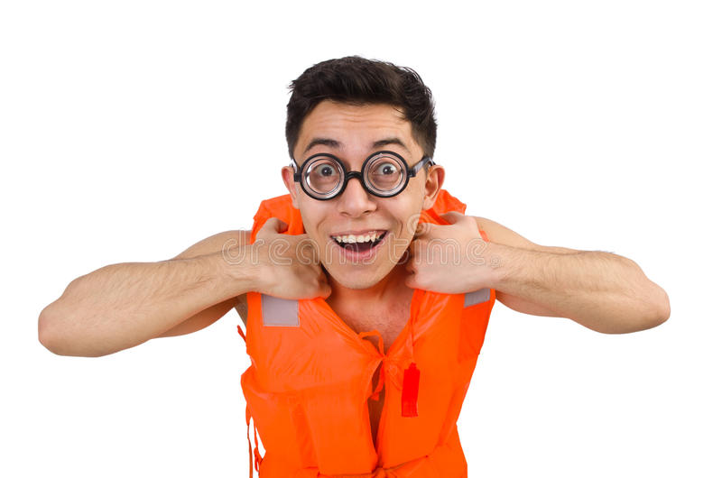 The funny man wearing orange safety vest. Funny man wearing orange safety vest royalty free stock photography