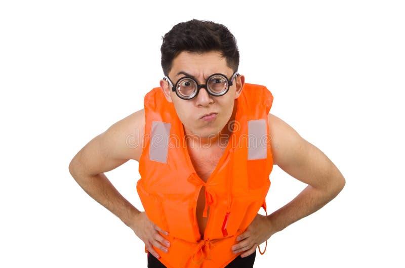 The funny man wearing orange safety vest. Funny man wearing orange safety vest stock photography