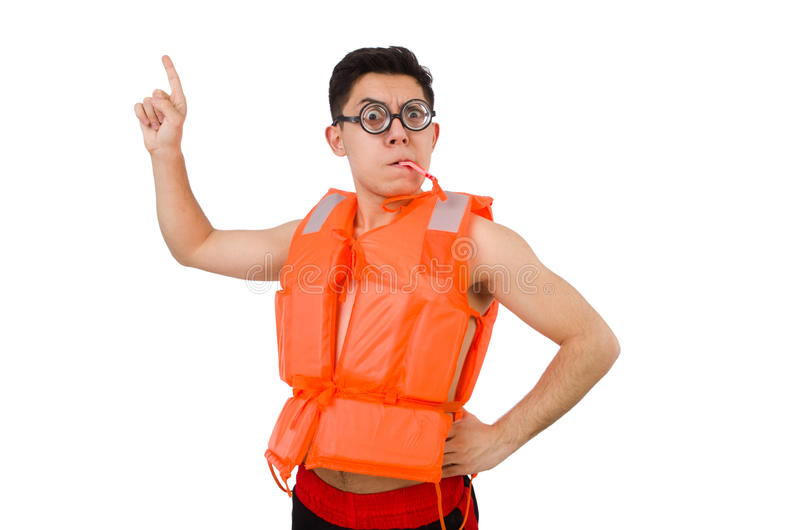Funny man wearing orange safety vest. The funny man wearing orange safety vest royalty free stock photography