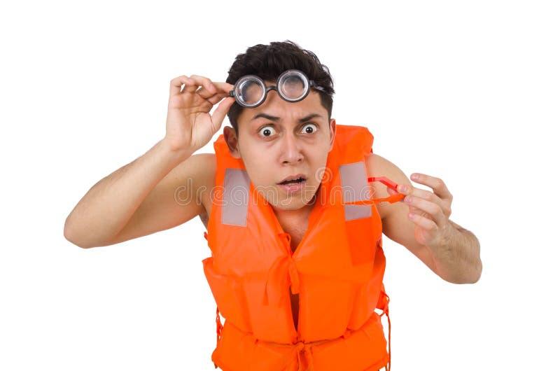 The funny man wearing orange safety vest. Funny man wearing orange safety vest royalty free stock photo