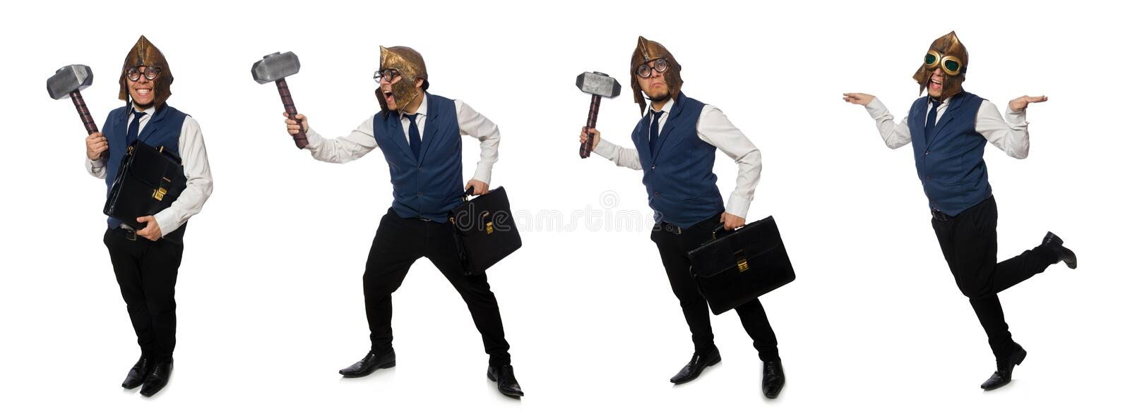 The funny man wearing pilot helmet and goggles stock photography