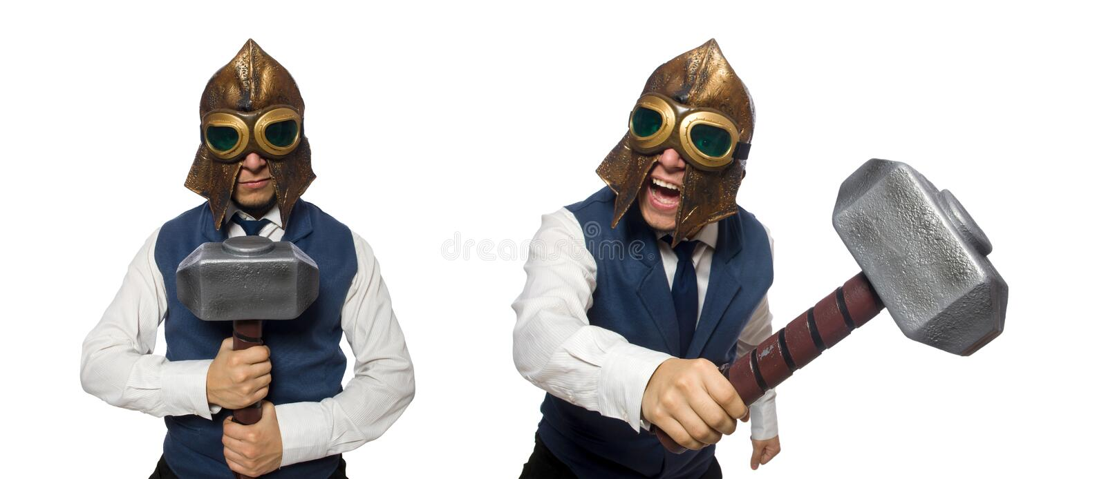 The funny man wearing pilot helmet and goggles royalty free stock image