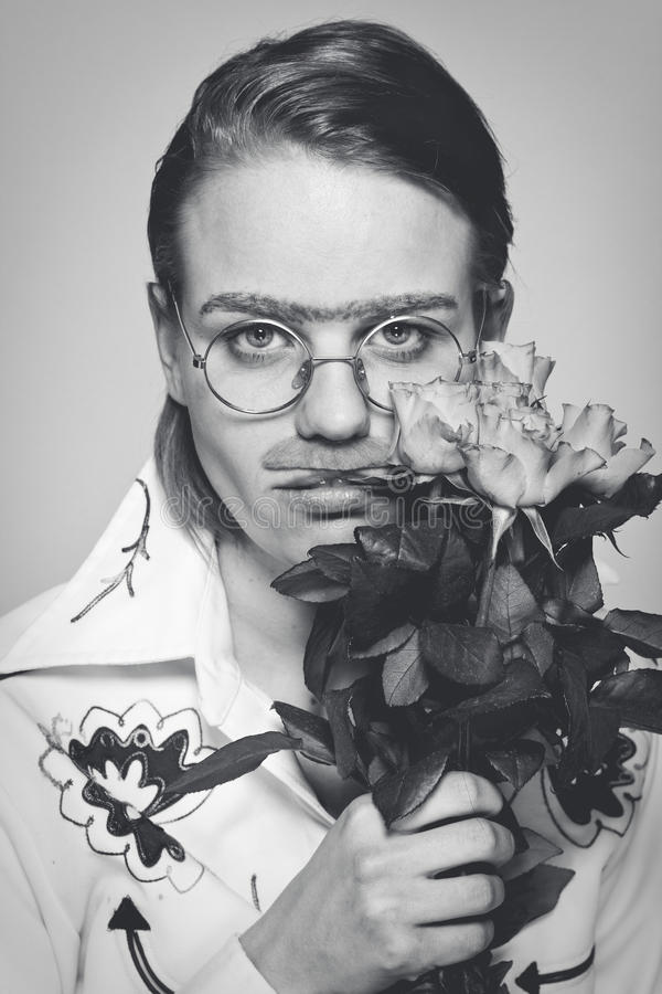 Free Funny Man With Flowers. Old-time Picture Stock Photo - 26074530