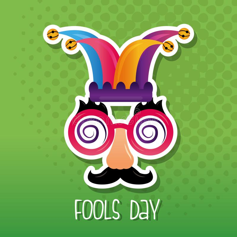 Funny mask jester hat fool day vector illustration