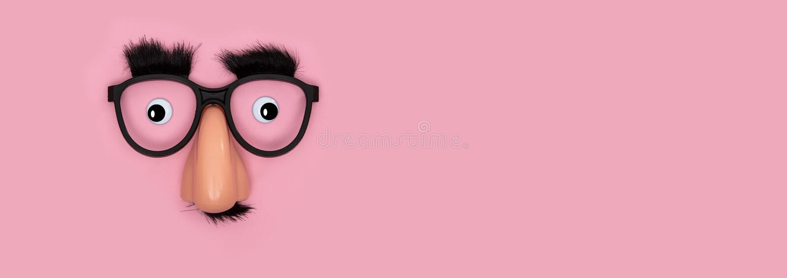 Funny Mask with Nose Panorama royalty free stock photo