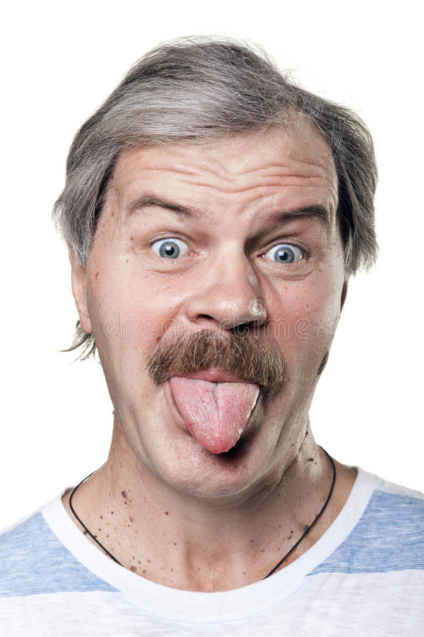 Download Funny Mature Man Shows Tongue Isolated On White Stock Photos - Image: 23091443
