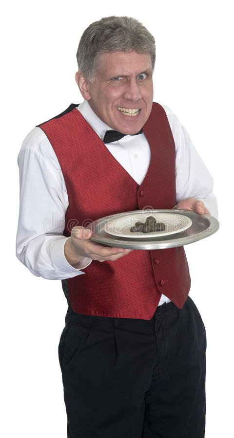 Download Funny Mean Waiter Serving Dog Poop, Isolated Stock Photo - Image: 39958032