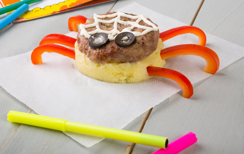 Funny meat cutlet for kids stock image