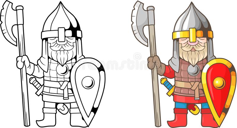 Funny, Medieval Russian Warrior, Coloring Book Stock Vector ...