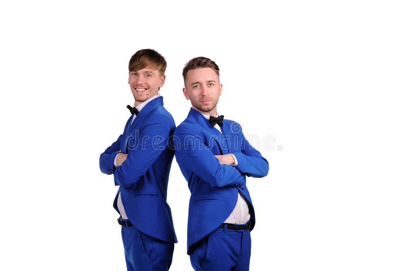 Funny men dressed in blue suite with different emotions. On white background royalty free stock photos