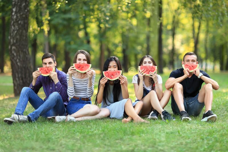 Funny men and women covering faces with tasty watermelon slices royalty free stock photos
