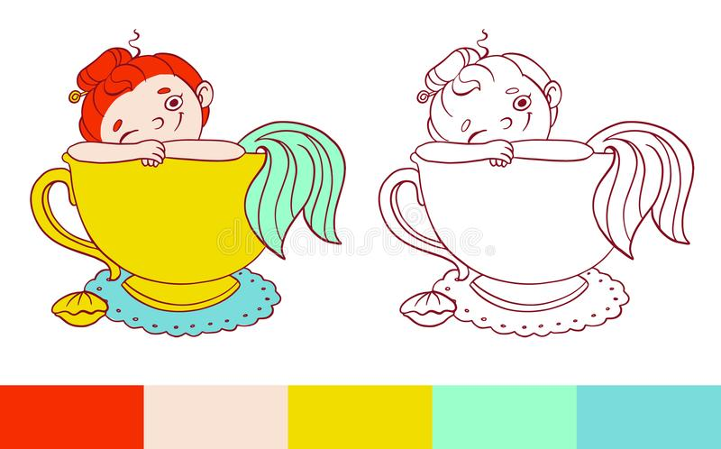 Funny mermaid in a cup of tea illustration. Vector template for coloring. Activity for kids with examples.  royalty free illustration