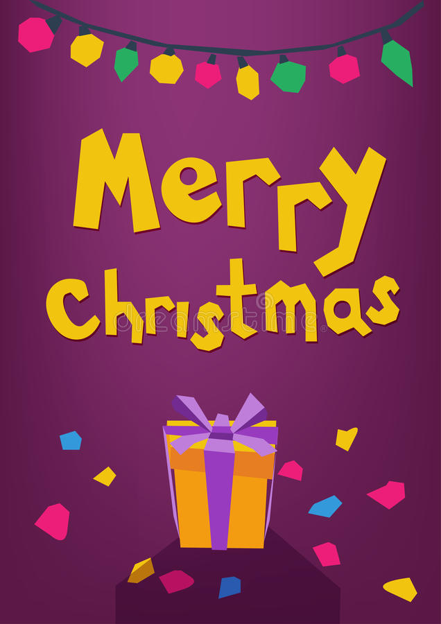 Funny Merry Christmas greeting card. Gift, confetti, garland in paper cut style. stock illustration