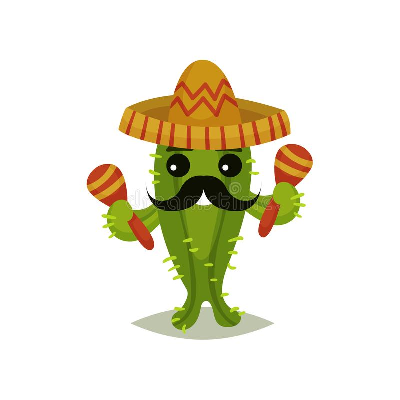 Funny Mexican cactus with black mustache. Succulent plant in sombrero hat and maracas in hands. Flat vector for greeting vector illustration