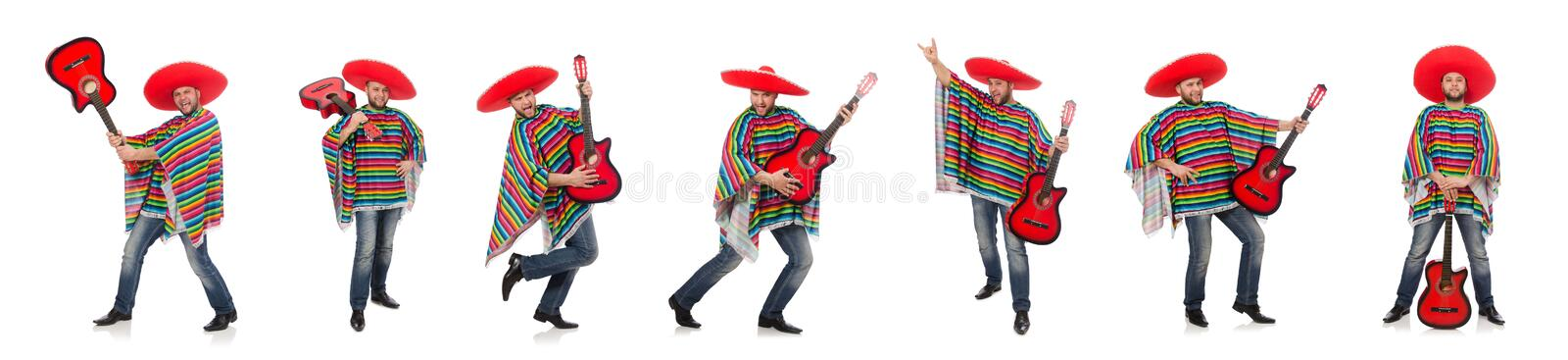 Funny mexican with guitar isolated on white. The funny mexican with guitar isolated on white royalty free stock photos