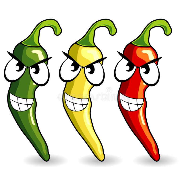 Funny mexican hot chili peppers vector illustration