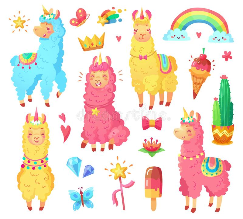 Funny mexican smiling alpaca with fluffy wool and cute rainbow llama unicorn. Magic pets cartoon illustration set. Funny fairytale cute mexican smiling colorful royalty free illustration