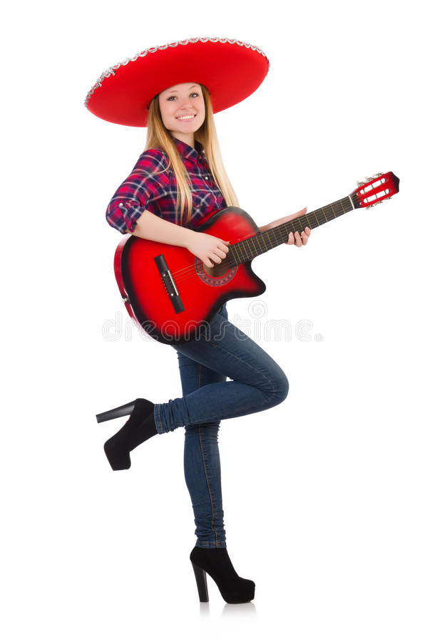 Funny mexican with sombrero royalty free stock photo