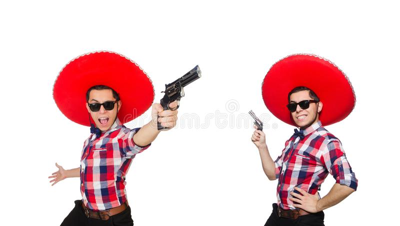 Funny mexican with sombrero hat. The funny mexican with sombrero hat royalty free stock image