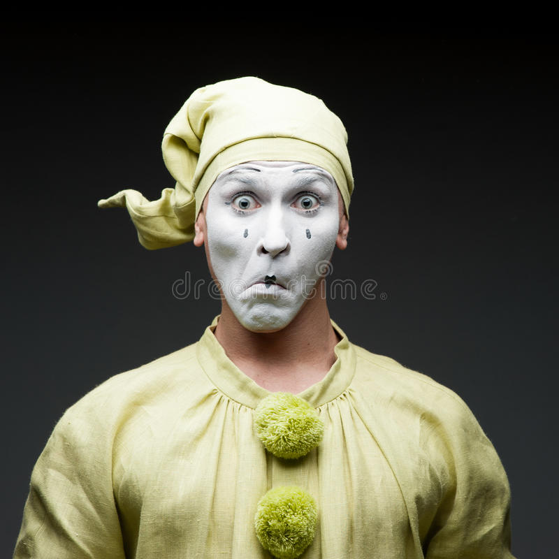 Funny mime. Show surprised face royalty free stock photography
