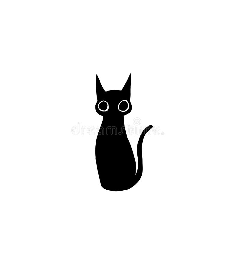 Funny minimalistic cat drawing vector illustration royalty free illustration