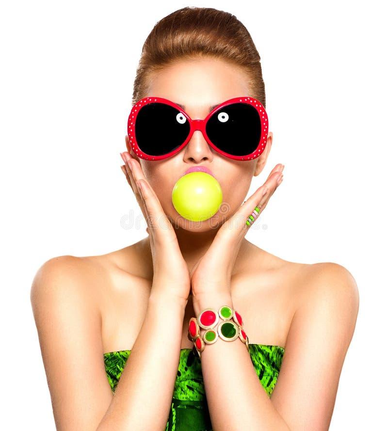 Funny model girl wearing sunglasses stock photos