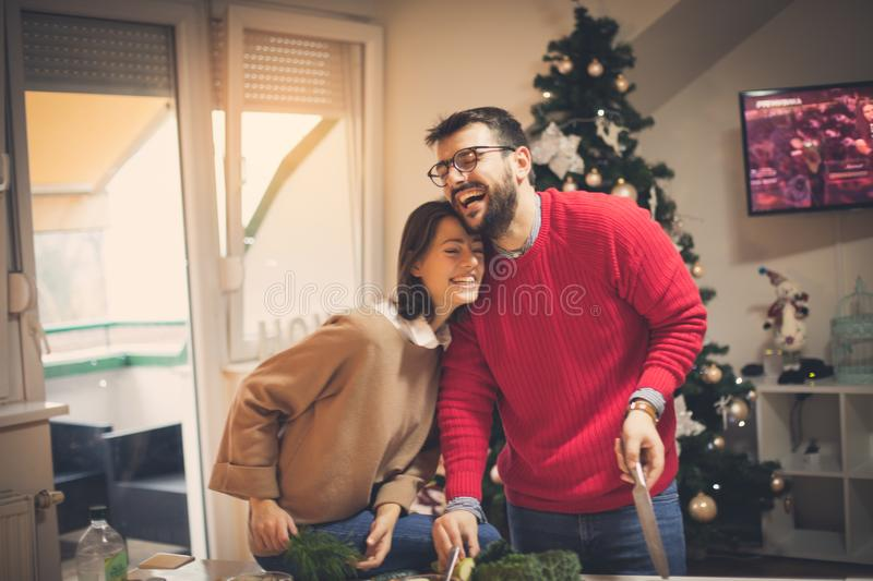 Funny moment in kitchen stock images
