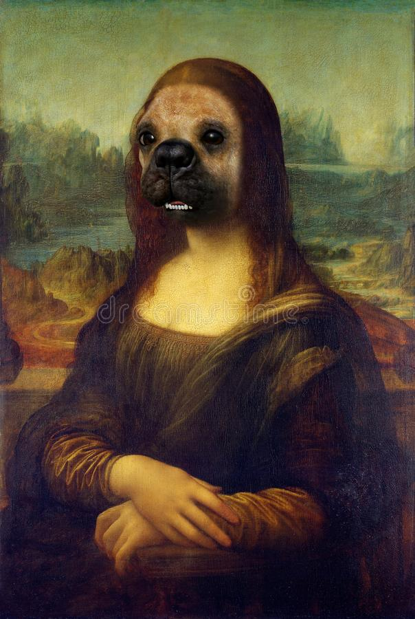 Funny Mona Lisa Dog Face Painting Spoof. Funny pet dog face on the famous Mona Lisa painting portrait. The bulldog woman creates a surreal and fun Rembrandt stock photos