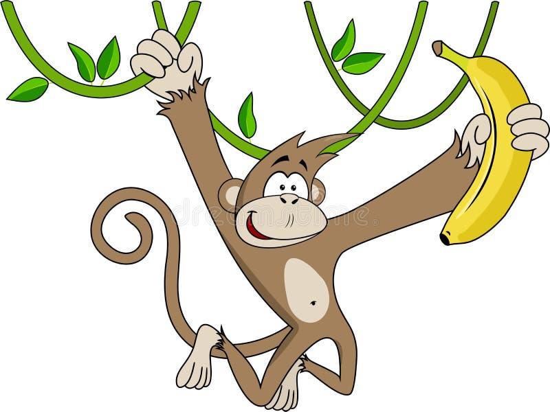 Funny monkey with banana. stock illustration