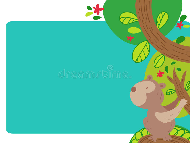 Funny monkey cartoon illustrated frame page. A funny cartoon monkey on a colorful trees frame page, perfect for travel advertisements, or inviting card stock illustration