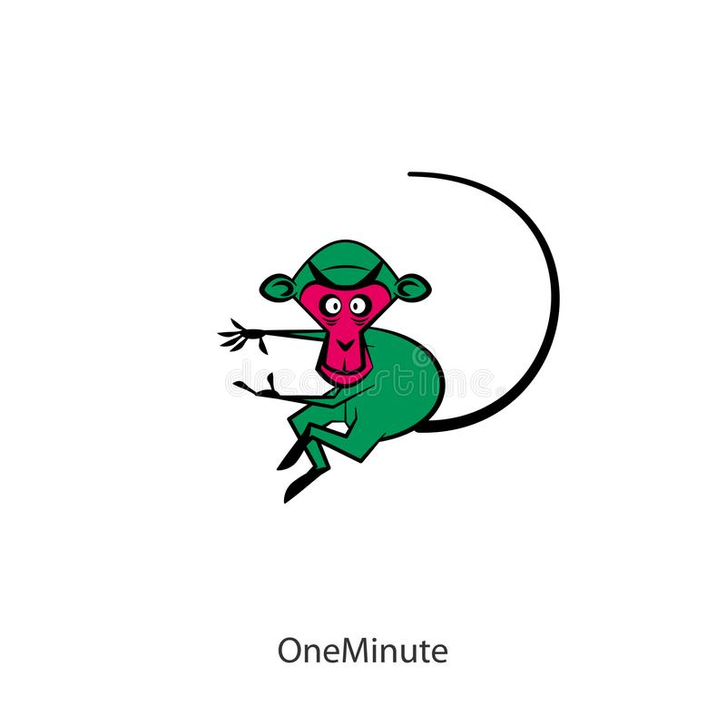 Funny monkey color. Cartoon character. Funny fast monkey posing in motion. Vector illustration. The inhabitant of the southern forests and jungles. One minute! royalty free illustration