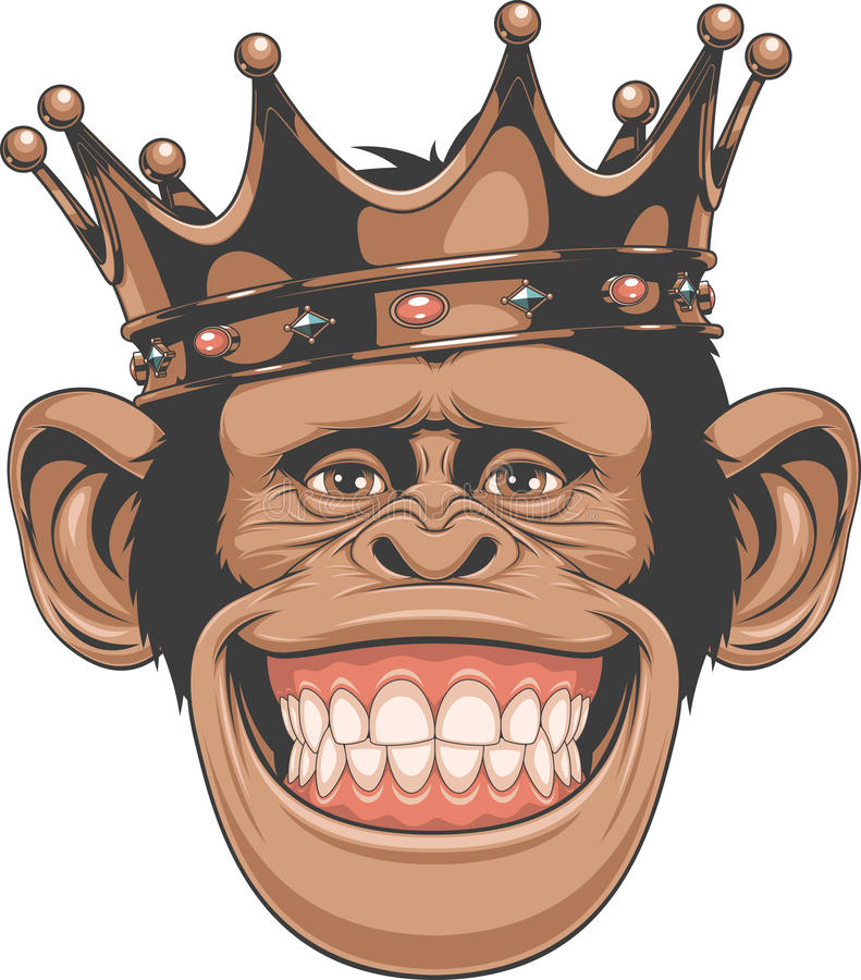 Funny monkey crown stock illustration