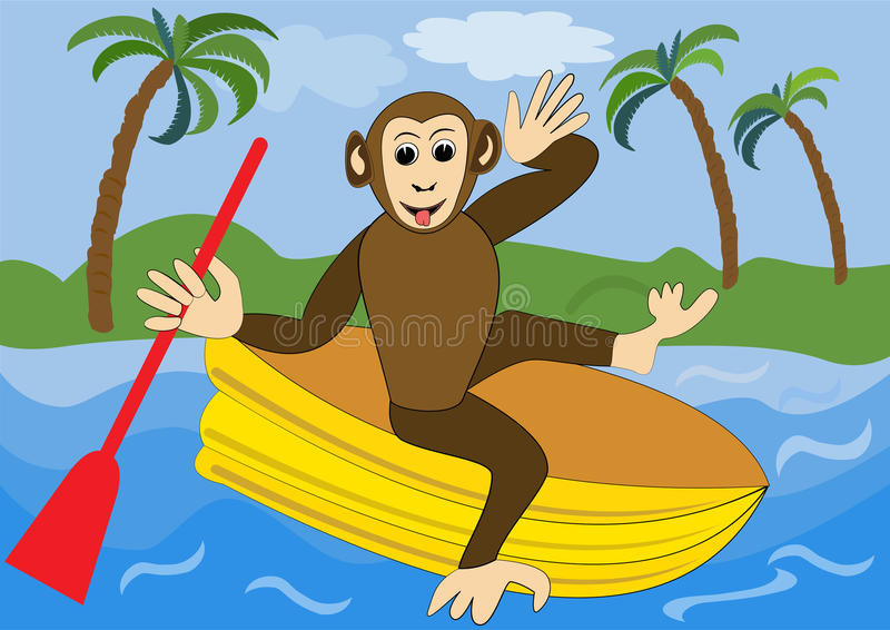 Funny monkey floats on yellow inflatable rubber dinghy with red oar. Illustration for children, animal vector cartoon clipart. Vector eps10 stock illustration