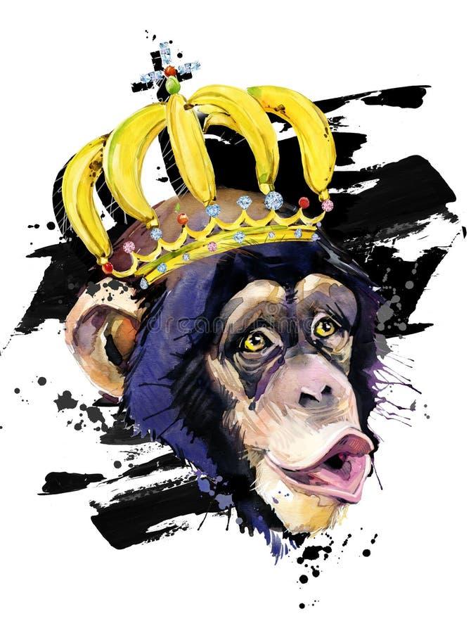 Funny monkey hand drawn watercolor illustration. royalty free illustration