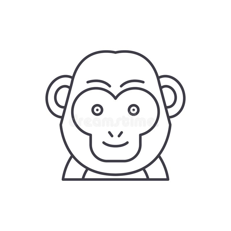 Funny monkey line icon concept. Funny monkey vector linear illustration, symbol, sign vector illustration