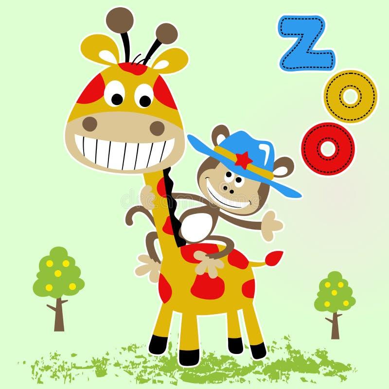 Funny monkey with sheriff hat ride on giraffe, vector cartoon illustration vector illustration