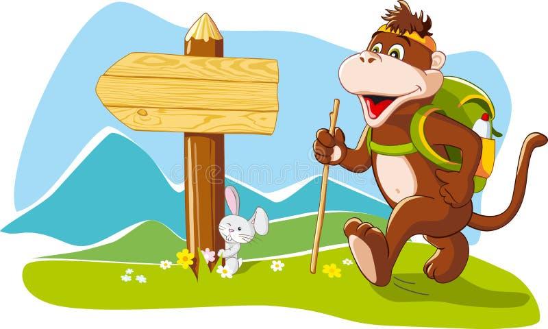 Funny monkey tourist hiking mountains, cartoon ill vector illustration