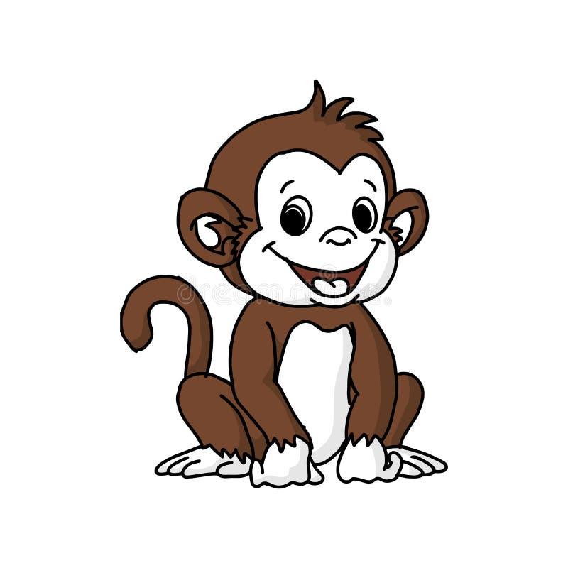 Funny Monkey Vector Illustration In Fun Cartoon Style Design royalty free illustration
