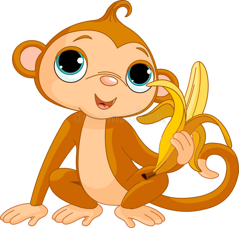Free Funny Monkey With Banana Stock Image - 17508881