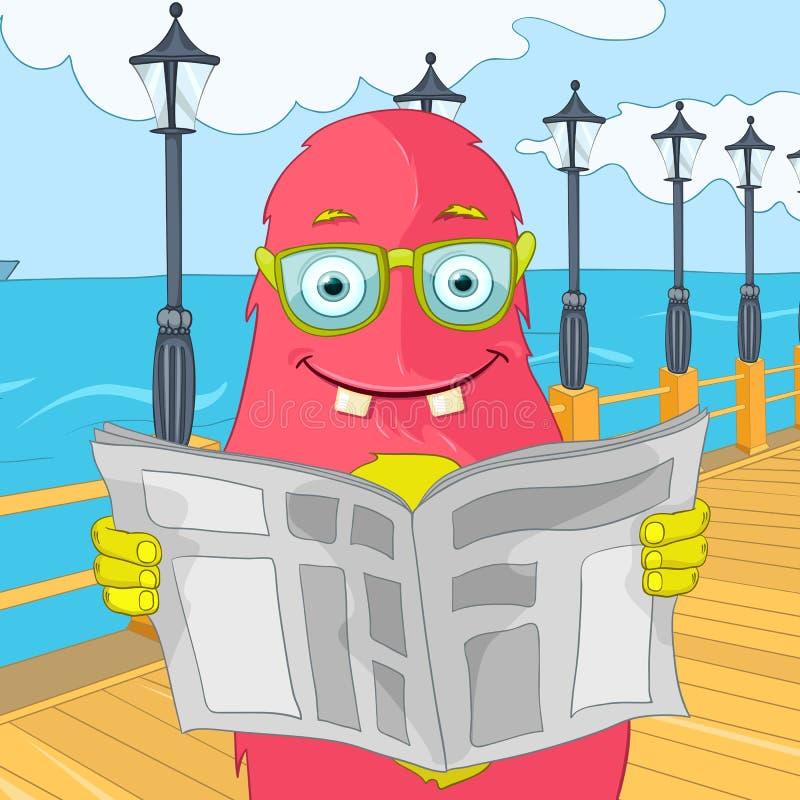 Funny Monster. Cartoon Character Funny Monster. Vector Illustration. EPS 10 royalty free illustration