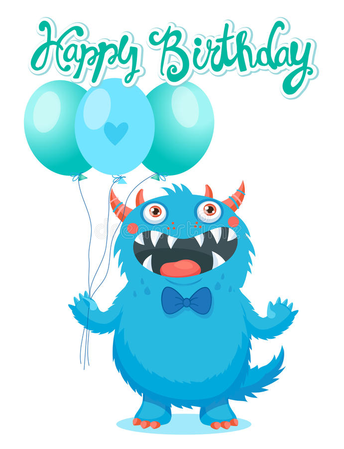 Funny Monster Birthday Greeting Card. Birthday Monster Theme. stock photo